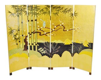 Vintage Asian 4 Panel Folding Screen Room Divider
