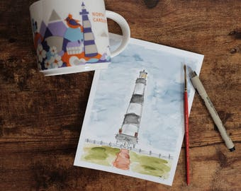 Watercolor Bodie Lighthouse Outerbanks, North Carolina