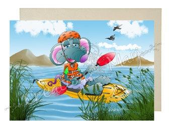 Kayak, Kayak, sports card, happy, sports card, card congratulations card mouse card training