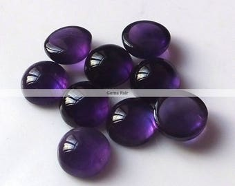 10 pieces 7mm Amethyst round cabochon gemstone - top quality natural Amethyst cabochon round loose gemstone - flat back amethyst cabochon