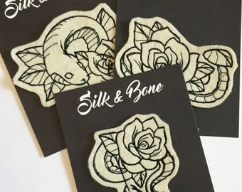 Embroidered Snake Sleeve Patch Set
