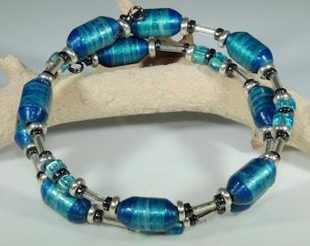 Metallic Blue 01 (Upcylced Paper Bead Bracelet/HPBW0014)