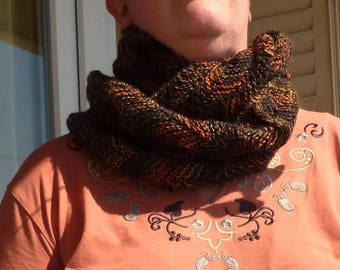 "Collar ""2 turns"" Brown zig - zag stitch"