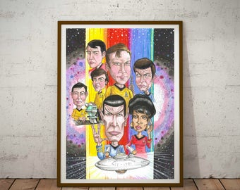 Star Trek, 1960's series.  Cult Caricature Eco Friendly A3 Poster/Print, Trekkie Poster
