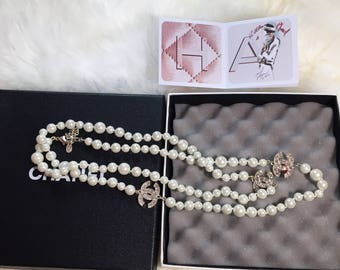 New 3 cc long pearl necklace chanel inspired