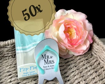 "50x Personalised Engraved ""Pop the Top"" Flip Flop Bottle Opener - Wedding Favours"