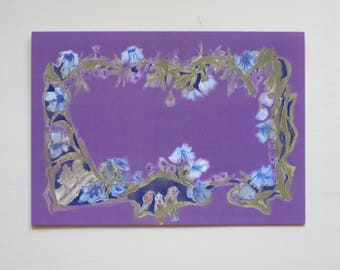 Flower tendrils with birds greeting card purple