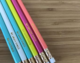 Motivational Pencil Set, Gift for Her, Gift for Boss, Boss Lady, Desk Accessories, Pencils, Gold Foil Pencil, Office, Engraved Pencils