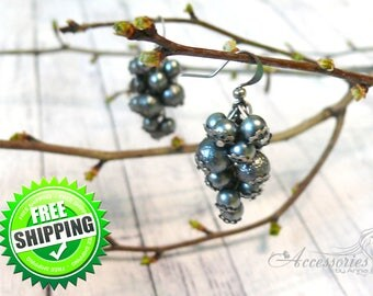 Silver Glass Grape earrings Cluster earrings Figural grapes pearl jewelry Silver Fashion earrings Glass Pearl earrings Christmas gift idea
