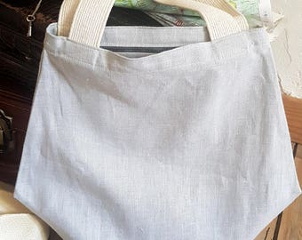 Tote bag / Pearl Grey linen tote bag / Tote shoulder bag / lightweight and foldable / summer bag