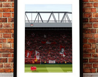 Liverpool FC Art, Anfield  Illustrated Print, Liverpool FC gifts, Football Art, Gift for Men, Football Gifts, Football Posters