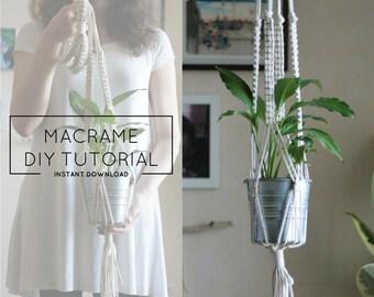 Macrame DIY Tutorial - Plant Hanger DIY, DIY Tutorial, Macrame Tutorial, Hanging Planter, Macrame Planter, Rope Plant Holder