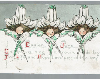 "EASTER Cherubs with Lily of Valley Caps Embossed POSTCARD 1910 ""Easter Joys"" Silver and White"