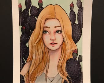 Girl with Cactus Sticker