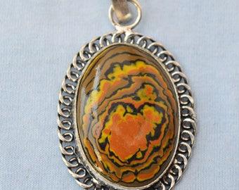RHODOLITE GARNET GEMSTONE Silver pendant handmade