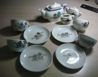 1940 Japan Foreign 13 piece Ceramic Child's Tea Set 4 Cups and Saucers, Teapot, Sugar and Creamer