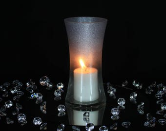 Glitter Candle Holder, Glitter Candles, Silver Glitter Candles, Wedding Candle Holders, Wedding Candle Centerpiece, Candle Holder Wedding