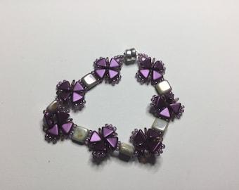 Purple and White Criss-Cross Wrap Bracelet