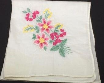 Vintage Handkerchief Machine Embroidered