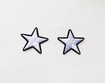 2x white stars military pinup Rockabilly fashion custom Iron On Embroidered Patch Applique Star rock tattoo