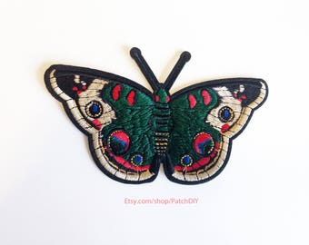 "Large green butterfly romantic cute colorful Iron on embroidered patch 14cm x 8.5cm / 5.5"" x 3.5"""