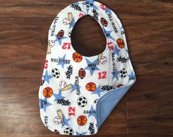Reversible Bib, Baby Boy Bib, Baby Shower Gift, Drool Bib, Baby Bib, Sports Bib, Baseball, Football, Basketball, Baby Branch Boutique