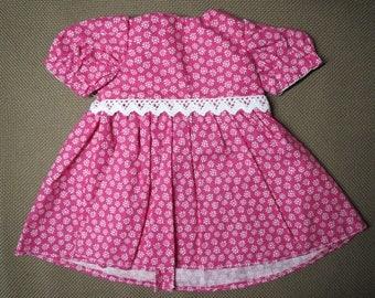 "Handmade 18"" Doll Dress, American Girl Dress, 18"" Pink Floral Dress"