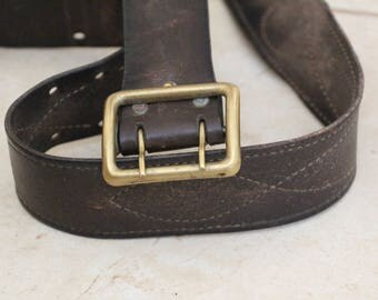 Combat Belt for men Leather belt brown with large metal buckle Soviet Era USSR Officers belt 1950s soviet militaria russian cold war RARE