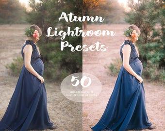 50 Autumn  Lightroom presets Fall presets Lightroom overlay Autumn color Wedding presets Pastel film color Photography presets Family preset