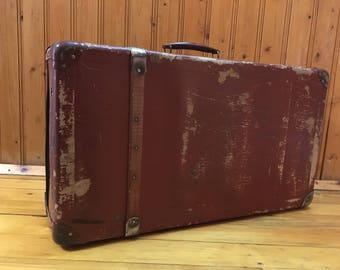 Antique suitcase 50s | Etsy