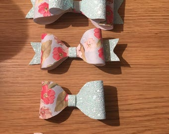 Floral sparkle hair bow box