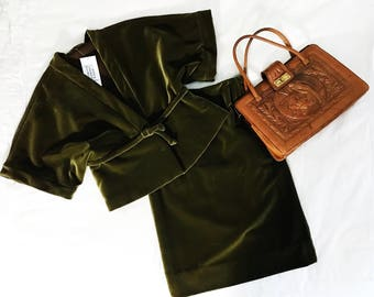1960's Vintage Handmade Velvet Kimono Skirt Suit Olive Green Tailor Made Womens Powersuit Professional Cocktail Formal 60s Mad Men Couture