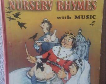 The golden book of nursery rhymes, vintage children's book, vintage sheet music, child's gift, vintage children's book with music