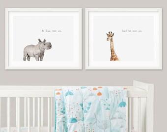 Safari Nursery Decor Set, Nursery Art, Rhino Giraffe Digital Print, Nursery Wall Art, Printable Wall Art, Instant Download Printable Art