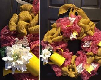 Pink & Mustard Burlap Water Pail Wreath