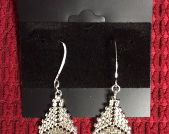 Triangular (Triangle) Silver Metallic (Metal) Dangle (Drop) Earrings (Other Colors Available) Also Available in Multiple Colored-Pattern