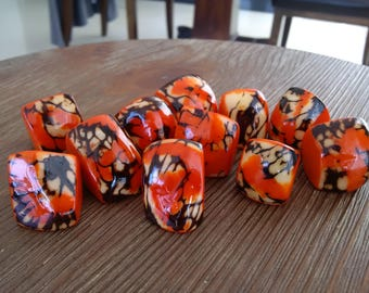 Ring - Tagua Nut Ring in Orange, Sizes US 5 to 8.5