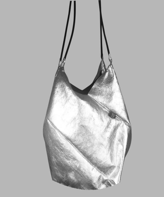 GEOMETRIC refined handbag small shopper silver from Jacron minimalist design
