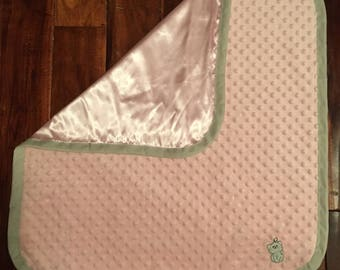 Light Pink and Gray Satin and Minky Kitten baby blanket