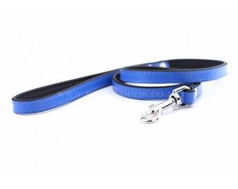 Personalized Leather Blue Dog Lead | Soft Leather Dog Lead | Blue & Black Dog Leash | Hand Painted Dog Lead |