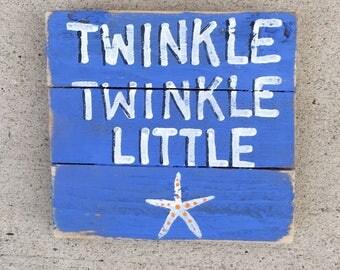 Nursery Rhyme Pallet Art, Nursery art, baby room art, Coastal Decor, Marine wood art, Twinkle twinkle little star