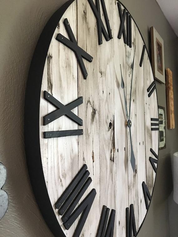 """30"""" Shiplap Clock, Shiplap, Rustic Clock, Oversized Wall Clock, Large Wooden Clock, Wooden Clock, Farmhouse Decor, Farmhouse Wall, Rustic"""