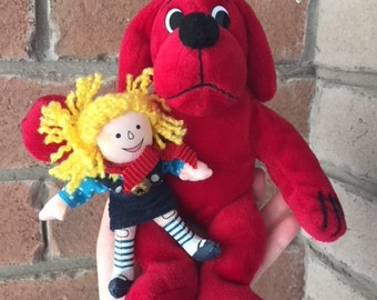 Vintage Clifford the big red dog and Emily plush