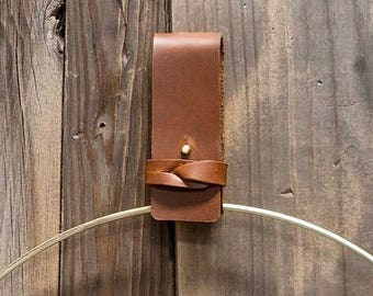 Leather BVM Hoop Wreath Strap