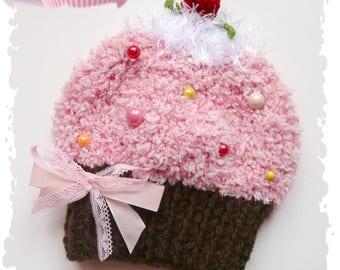 Baby knitting and crochet 100% original cupcake Hat
