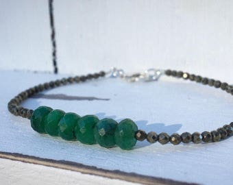 Emerald and Iron Pyrite Sterling silver Bracelet