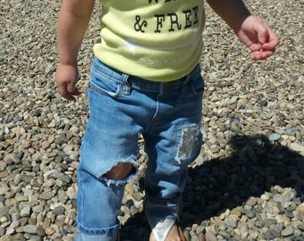 Young/wild/free/boho/arrow/distressed denim/distressed jeans/lace patch/baby girl/toddler girl/shower gift/photo prop/fashionist/