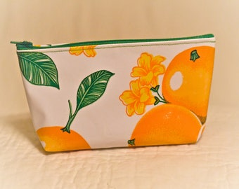 Oil Cloth Zipper Pouch Makeup Bag - Vitamin C