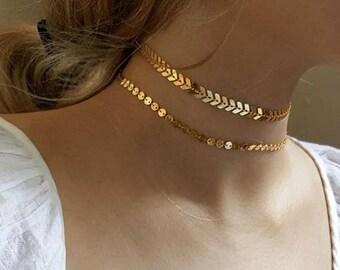 Necklace double row crew neck JUDITH