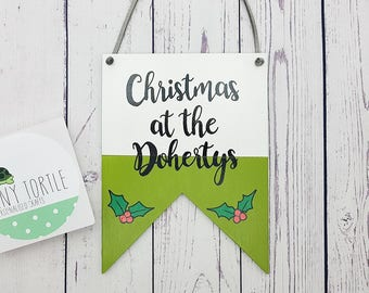 Personalised christmas plaque, hanging plaque, christmas decor, christmas gift, wood plaque, handpainted, xmas sign